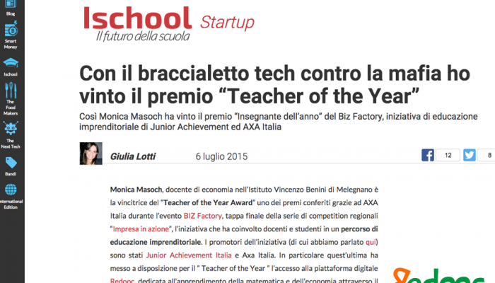 teacher of the year premio axa italia junior achievement